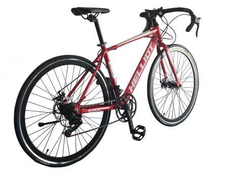 bicicleta de carretera roja trasera